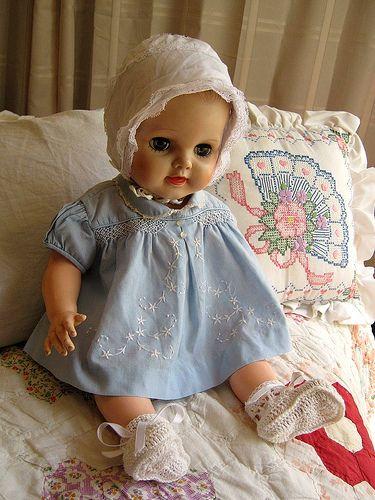vintage baby doll in vintage baby blue dress