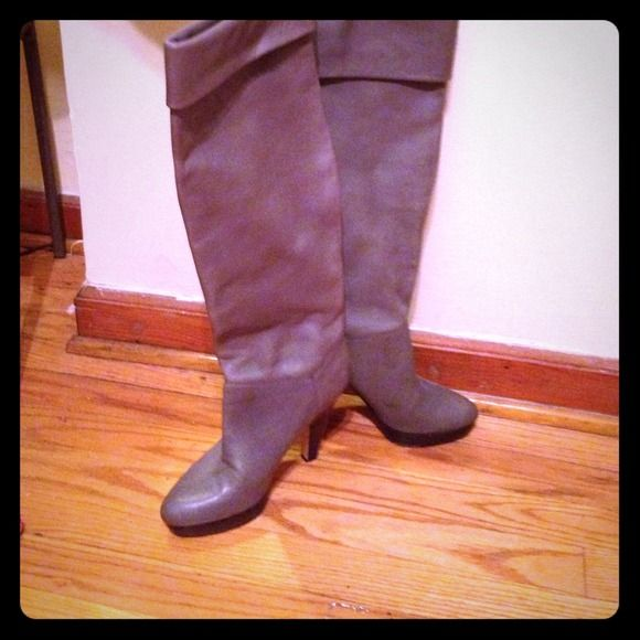 Aldo thigh high boots with heel Grey thigh high Aldo boots with 3inch wood heel ALDO Shoes Over the Knee Boots
