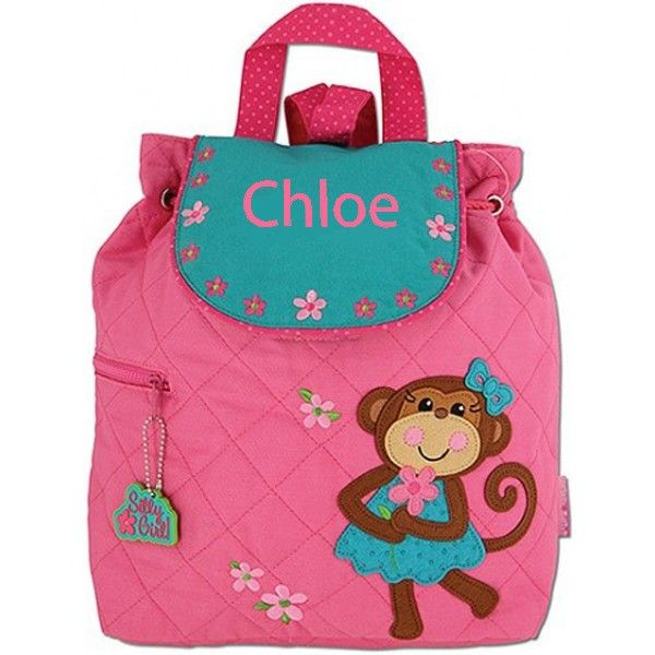 This pretty Stephen Joseph quilted Monkey Girl backpack is perfect for any little monkey as she scampers off to school or nursery! Pink and blue in colour, with a gorgeous monkey appliqué. The blue flap comes complete with flower illustrations and is finished with pink drawstrings and blue shoulder straps.