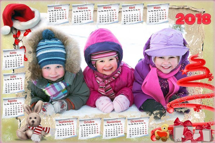 Calendarios para Photoshop: Calendario del 2018 con motivos navideños para Pho...
