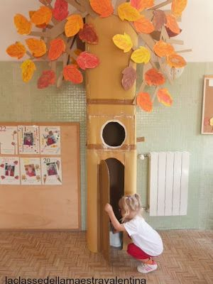 Adorable.  Made with a big refrigerator box.  Appliance boxes are GREAT for dramatic play.  Get one for this week's theme of Creation!  You will add to it each day!  Today, place flashlights and battery operated lanterns and a box of crayons inside for the children to use and decorate the box with.
