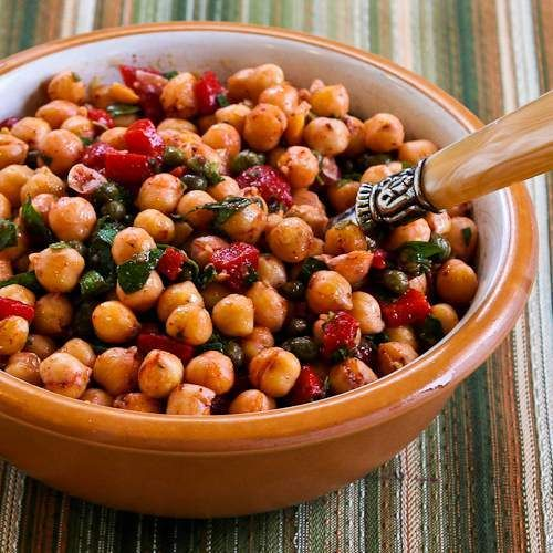 Sauteed Chickpea Salad with Roasted Red Peppers, Capers, Mint, and Su ...