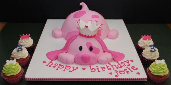 So Adorable!  Pink Puppy Princess Birthday Cake