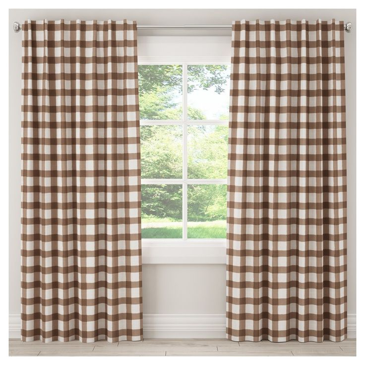 Unlined Buffalo Check Curtain Panel Brown 50 Quot X120