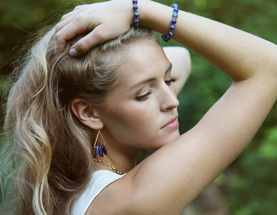 Lapis lazuli nugget and gold filled chain by Rosehip Jewelry
