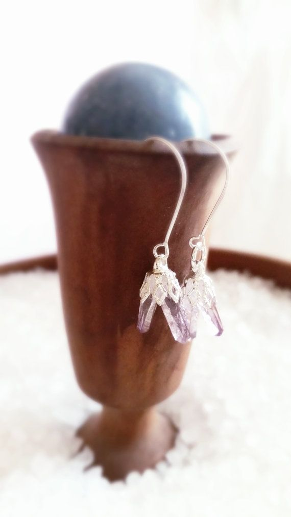 Starburst Dangle Earrings Amethyst Earrings Purple Stone by TLALA
