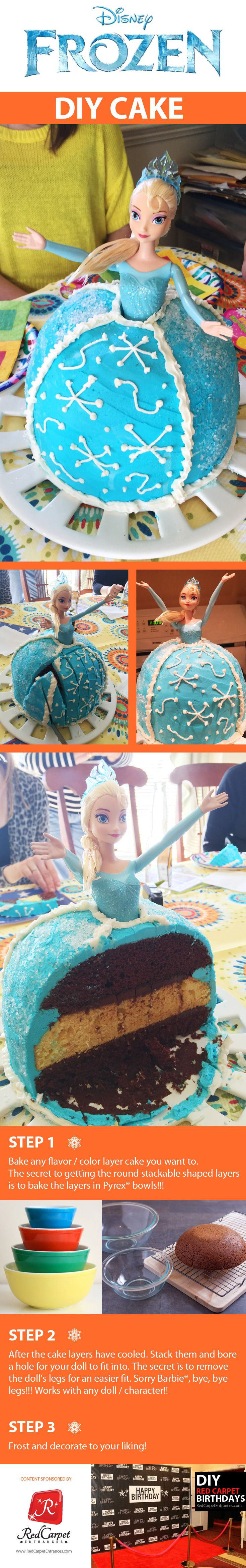 Disney Frozen themed Birthday Cake featuring Elsa with decorative snowflake frosting! Simple do-it-yourself (DIY) method, easy for anyone to bake and LET IT GO down the mouths of hungry friends and family!