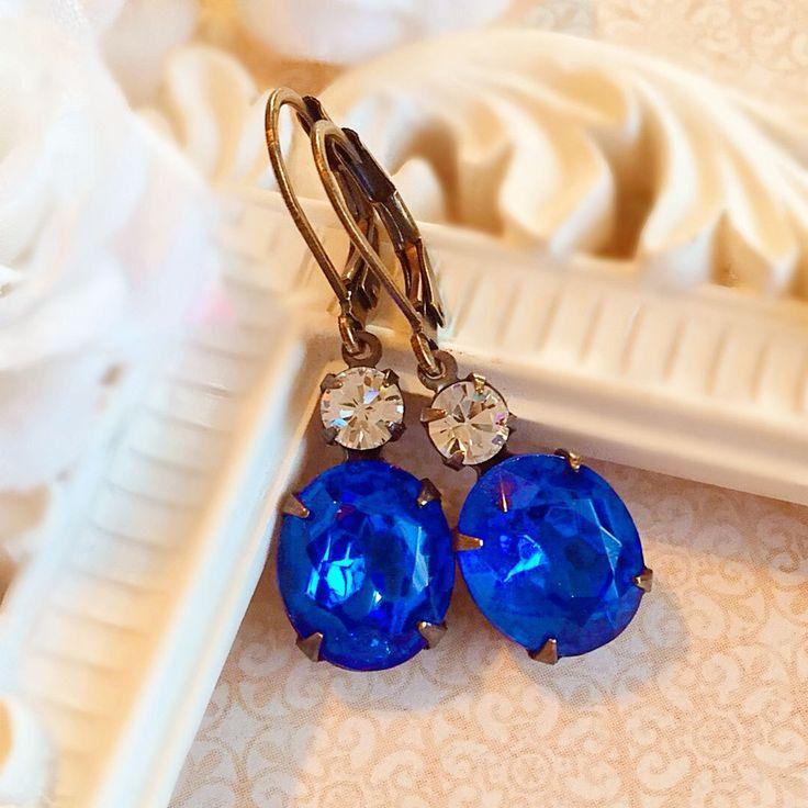 Best Gifts for Wife - Sapphire Earrings - Victorian Jewelry - Blue Earrings - Victorian Earrings - MYSTERE Sapphire by ParisienneGirl on Etsy https://www.etsy.com/listing/84256237/best-gifts-for-wife-sapphire-earrings