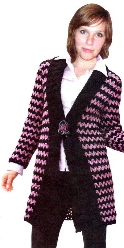 Розово-черный кардиган - Жакеты,полуверы, свитера