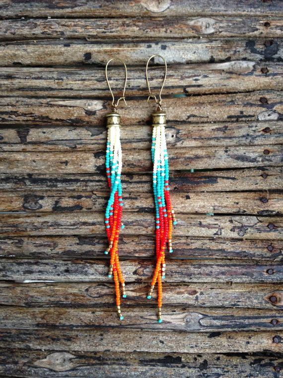 Beaded Earrings Long Fringe Earrings Seed by WildHoneyPieDesign