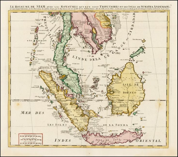 Antique map of Borneo, Sumatra, Malaya and Java Islands by Henri Chatelain in 1719 Amsterdam