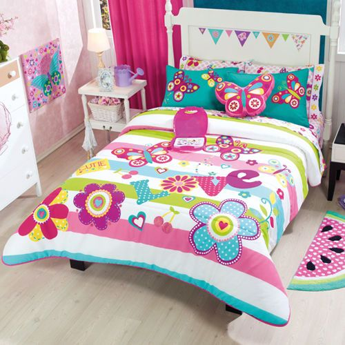 details about girls teens twin and queen love flowers comforter set with curtains bunk bed. Black Bedroom Furniture Sets. Home Design Ideas
