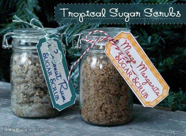 DIY sugar scrubs. Coconut/Rum & Mango/Margarita see recipe