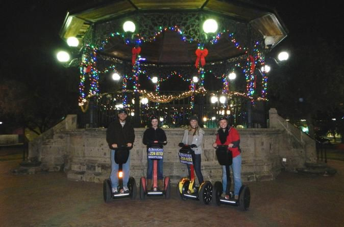 San Antonio Holiday Lights Segway Tour Enjoy a 2 hour evening Segway tour taking in the beautiful sights of over 400,000 holiday lights strung throughout downtown San Antonio and cruising through landmarks such as Travis Park, Houston St., Main Plaza, the Alamo and the riverwalk! After learning to operate a Segway a guide leads the group throughout downtown on a route designed to see as many lights as possibleto really get into the holiday spirit. Don't miss this magica...