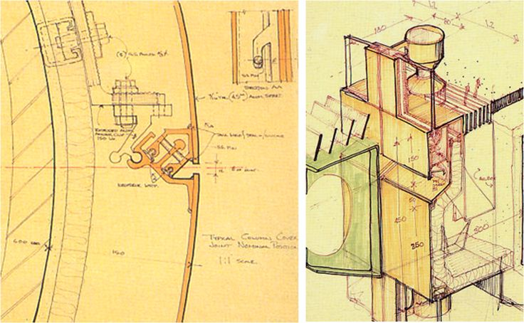 Phil Bonzon's sketches for the HSBC facade design (Foster & Partners). These details prefigure many industry design features by at least ten years.: Croquisdesign Sketch, Architecture Drawings, Architecture Sketch, Concept Sketch, Bonzon Sketch, American Curtains, Façad Confidenti, Architecture Details, Facades Design