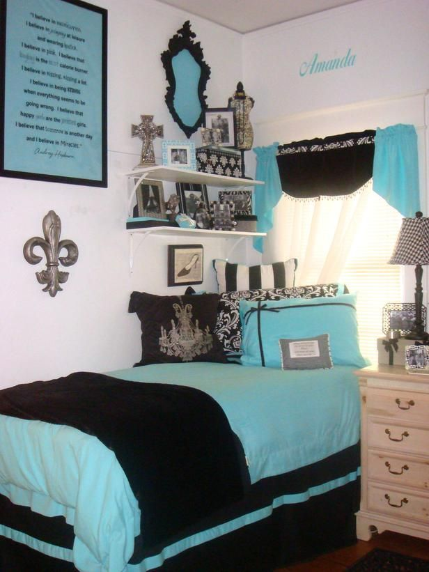 Blue!Colleges, Dorm Room, Room Decor Ideas, Blue Room, Tiffany Blue, Blue Bedrooms, Room Ideas, Colors Schemes, Bedrooms Ideas