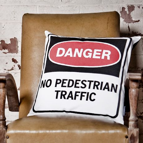 Industrial Style Road Sign Cushions on POP.COM.AU