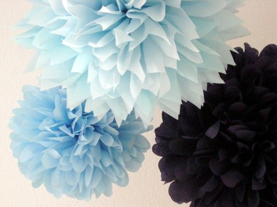 NAUTICAL baby bridal shower tissue paper pompoms boy nursery first birthday party decorations graduation retirement bar mitzvah navy blue