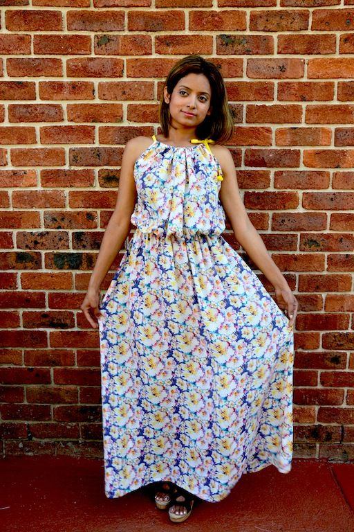 Maxi dress with beautiful pastel print and elasticated waist - available to order now from www.axori.com.au