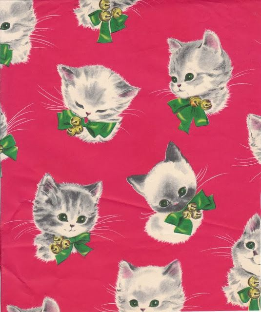 Cute, vintage kitty Christmas wrapping paper.