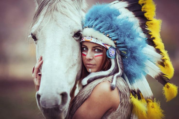 beautiful, fashion, feather, fur, girl, green eyes, horse, indian headdress, native american, photography