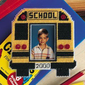 School Bus Photo Magnet Plastic Canvas Pattern