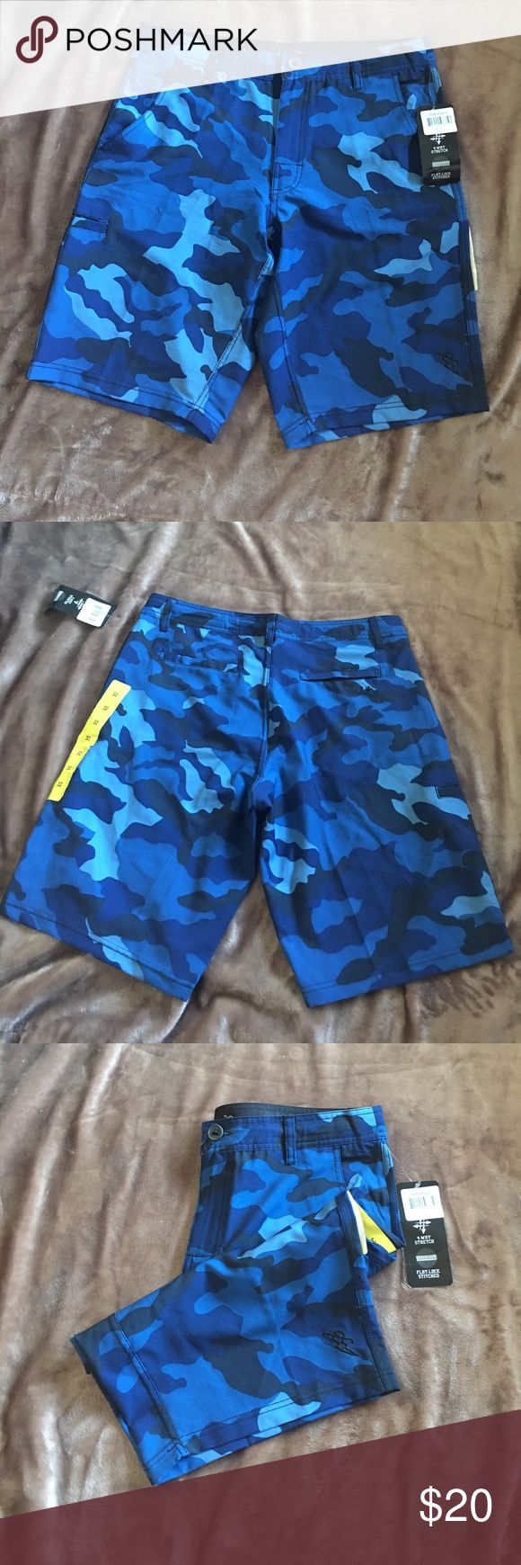 """Surf shorts Brand new never worn surf shorts. Can be used to swim or as casual shorts. Has pockets at sides and on back. Button and zipper closure. Also has drawstring on the inside. Lightweight and cool fabric. Brand is """"Da Hui"""" but listed as Volcom for exposure. Volcom Shorts Hybrids"""