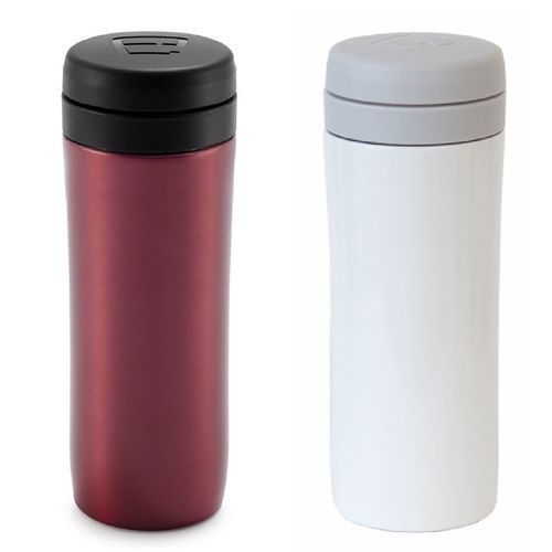 Espro Travel Press Set: Metallic Red & Bright White w/Tea Filters Insulated Mug