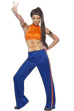 Sporty Power kostuum. Blauwe sport broek en top met nep spieren. Voor de bijpassende pruik kun u ook in deze webshop terecht! Sporty Spice uit de Spice Girls kostuum. Carnavalskleding 2015 #carnaval