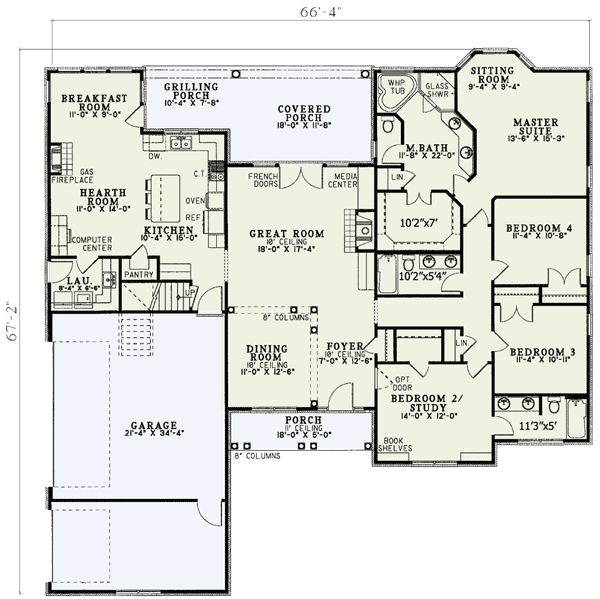 Plan W5933ND: Corner Lot, Photo Gallery, Traditional House Plans & Home Designs. 4 bedroom 3 bath 2405 sf. Hearth room and sitting room in master. Large secondary bedroom. Not crazy about the exterior, though.