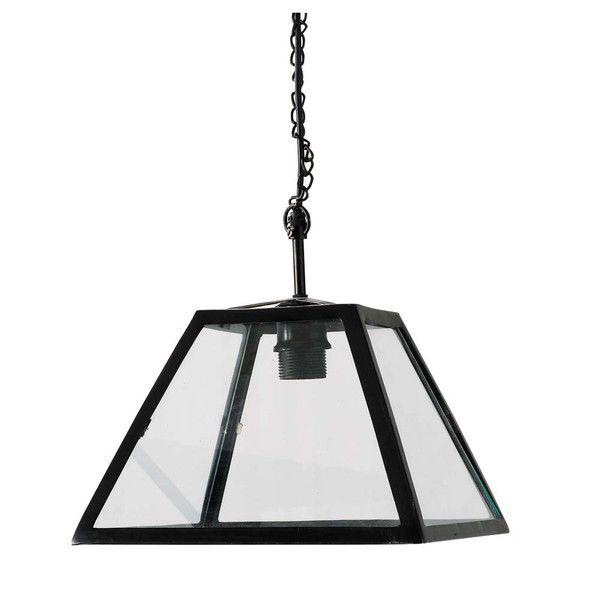80 lampadario nero in vetro e metallo D ...