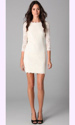 Adorable idea for a rehearsal dress! Or the dress you're seen off in the night of the wedding. {(Diane von Furstenburg Zarita Lace Dress}