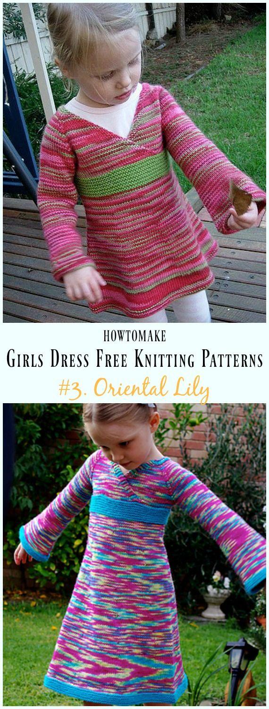Oriental Lily Dress Free Knitting Pattern - Little Girls #Dress Free #Knitting Patterns