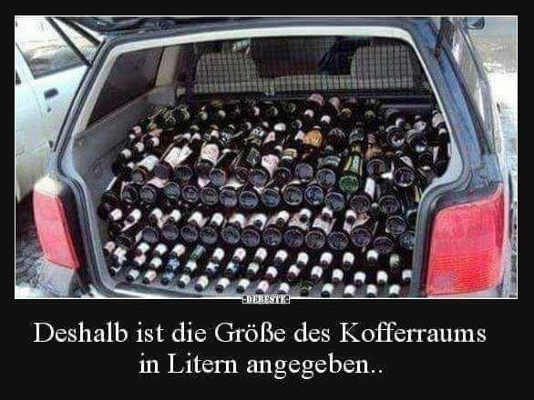 BIER lustig witzig Sprüche Bild Bilder Kofferraum in Liter ...
