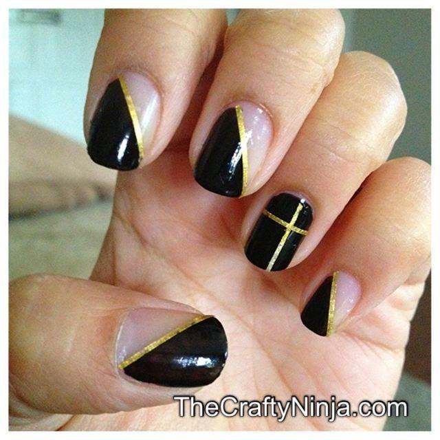 DIY Nail Tape Black Mani DIY Nails Art