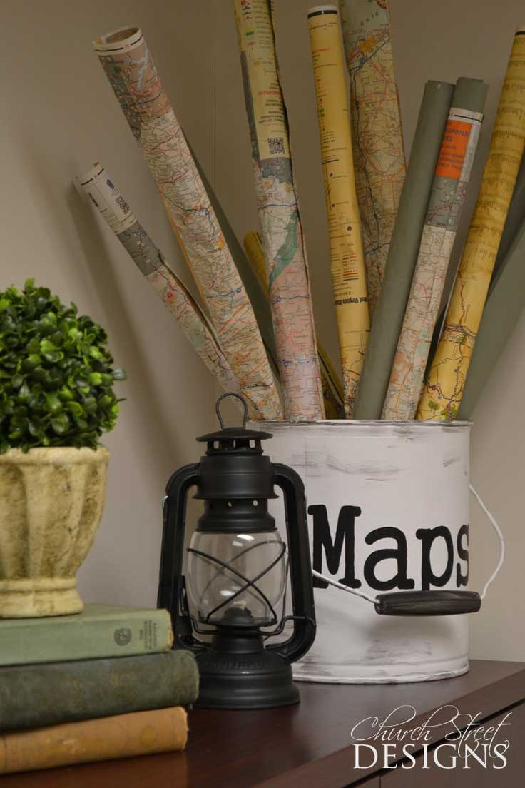 Map Container With Rolled Maps Tutorial Guys Office Makeover Church Street Designs Vintage Map Decorvintage