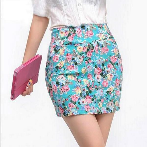 Vintag 2017 Office Lady Skirt Summer Women High Waist Elastic OL Short Mini Skirts Floral Sexy Pencil Skirt Female Bodycon Skirt