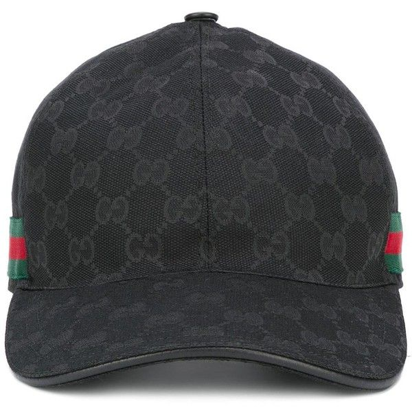 d422285c Gucci Original GG web stripe baseball cap ($320) ❤ liked on Polyvore  featuring men's fashion, men's accessories, men's hats, dad etc, black and  gucci mens ...