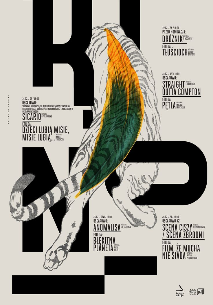 Cinema poster Krzysztof Iwanski He clashes representing elements with typographic elements. He creates works in which arrangements seem to portray rules of order, harmony, balance and tensions. He shapes homogeneous (coherent) configurations from separate elements.