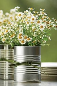 simple flowers + metal can center pieces