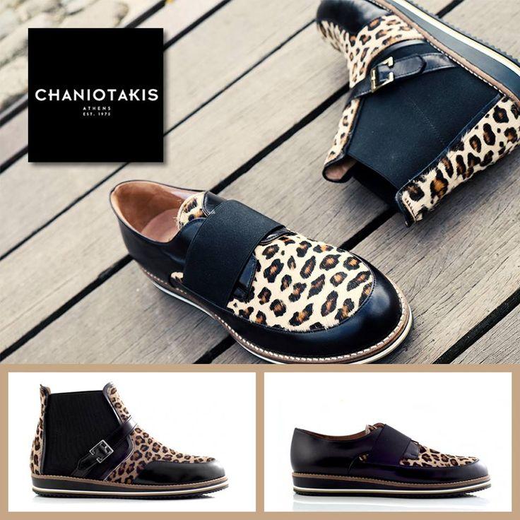 Loafer και ankle boot με λεπτομέρειες pony leopard. http://tinyurl.com/q29kmcu  #leopard #leather #black #chaniotakis