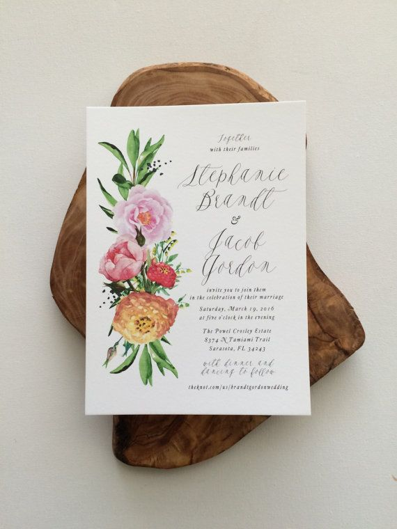 Stephanie Suite Spring Watercolor Wedding Invitation Botanical Colorful Handpainted Garden Clic Outdoor Peony Pink In 2018 A Tingley
