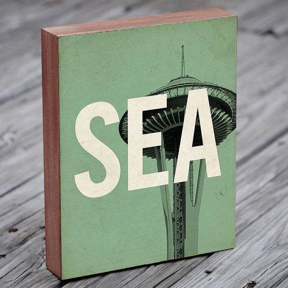 Seattle SEA  Wood Block Art Print by LuciusArt on Etsy, $39.00