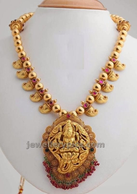 Mango Short Necklace And Lakshmi Devi Locket In Mango