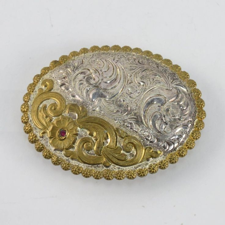 Crumrine Gold & Silversmiths Gold Tone and Silver Plate Ruby Jewel Belt Buckle B