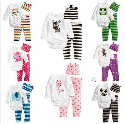 3Pcs Baby Infant Boys Girls Animal Clothes Romper+Pants+Hat Outfits Sets 0-18 M
