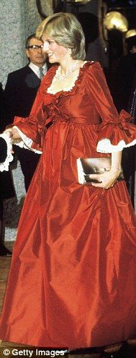 Diana attending a function while pregnant in 1982 wearing a Bellville Sassoon design...