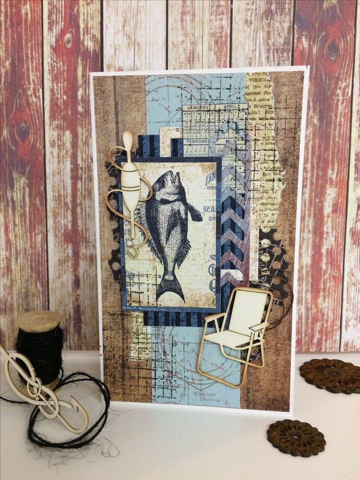 Открытки скрапбукинг с рыбалкой, открытка