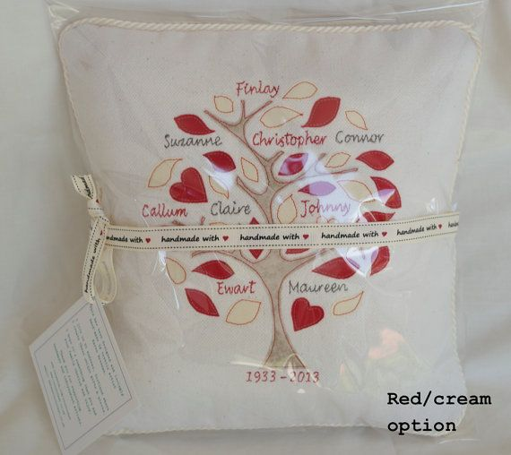 Custom Handmade Family Tree Cushion by CocoRocket on Etsy, £36.50