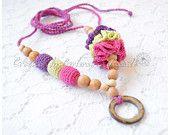 Teething necklace / Nursing necklace / Breastfeeding Necklace turquoise pink lime
